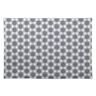 Grey, White and Muted Blue Tessellation Pattern Placemat