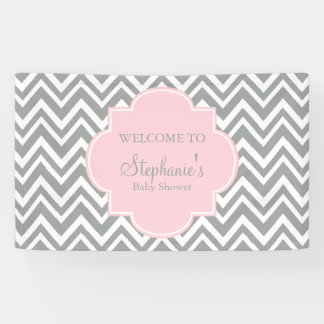 Grey, White and Pastel Pink Chevron Baby Shower Banner