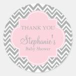Grey, White and Pastel Pink Chevron Baby Shower Round Sticker