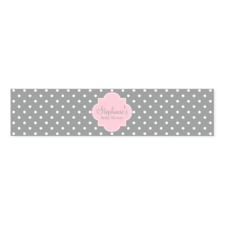 Grey, White and Pastel Pink Polka Dot Baby Shower Napkin Band