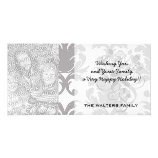 grey white baroque damask customized photo card