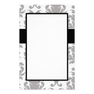 grey white baroque damask design customized stationery