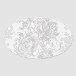 grey white baroque damask oval sticker