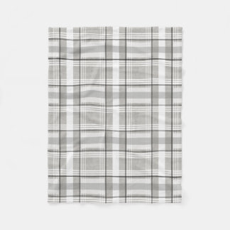 Grey, White, & Black Plaid Fleece Blanket