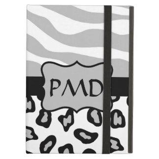 Grey, White & Black Zebra & Leopard Skin Custom iPad Air Covers