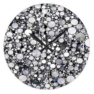 Grey White Bling Pattern Clocks
