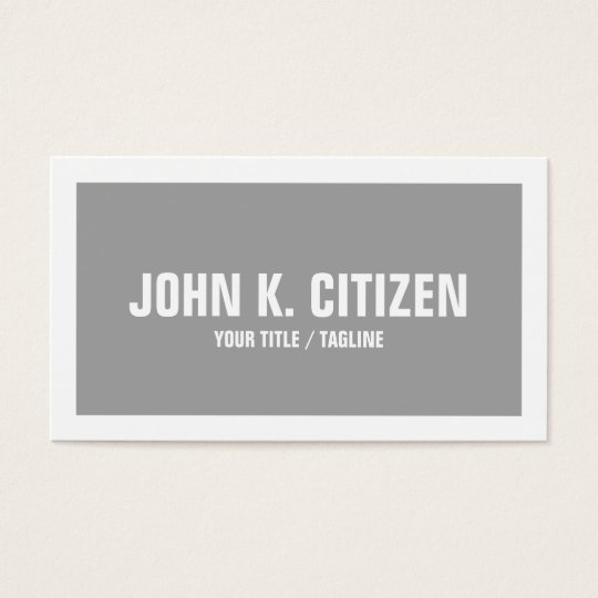 Grey & White Bold Text Wide Border Business Card