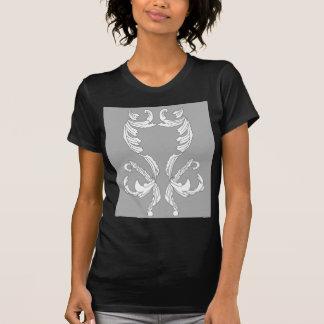 Grey White Brocade Designer Elegance Tee Shirts