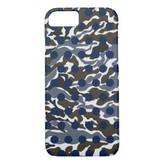 Grey White Brown Camo Navy Blue Polka Dot iPhone 8/7 Case