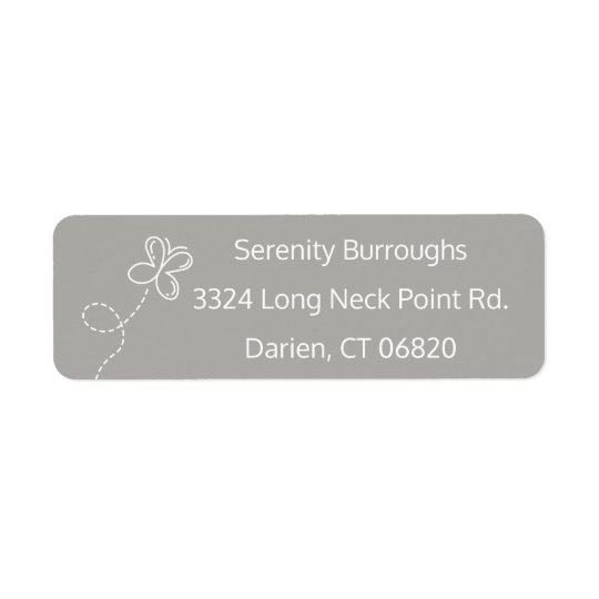 Grey & White Butterfly Personalised Return Address Label