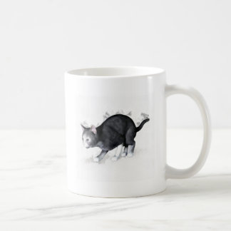 Grey White Cat Ready to Pounce Mugs