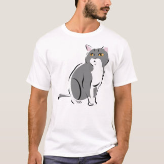 Grey & White Cat with Amber Eyes T-Shirt