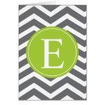 Grey White Chevron Green Monogram Greeting Card