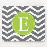 Grey White Chevron Green Monogram Mouse Pad