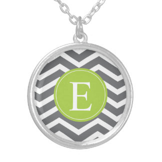 Grey White Chevron Green Monogram Silver Plated Necklace