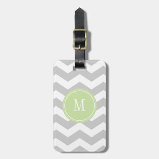 Grey & White Chevron Monogram Luggage Tag