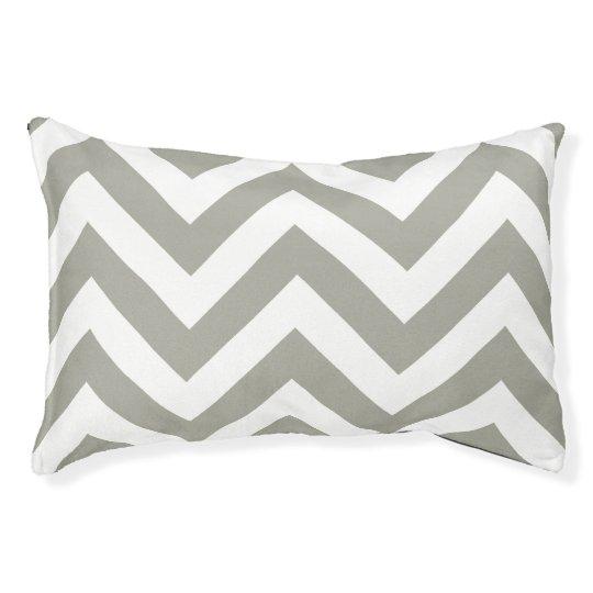 Grey white chevron zigzag pattern pet bed