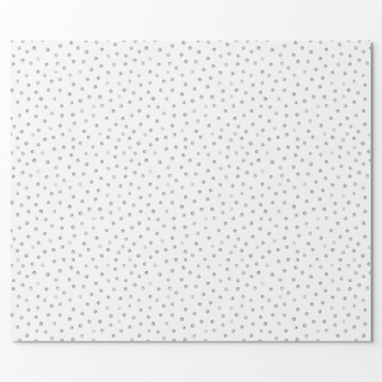 Grey White Confetti Dots Pattern Wrapping Paper