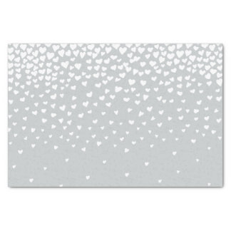 Grey White Confetti Hearts Tissue Paper