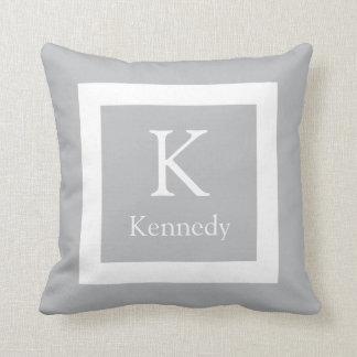Grey White Custom Monogram Name Throw Pillow