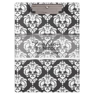 Grey & White Damask Chic Elegant Glam Personalized Clipboard