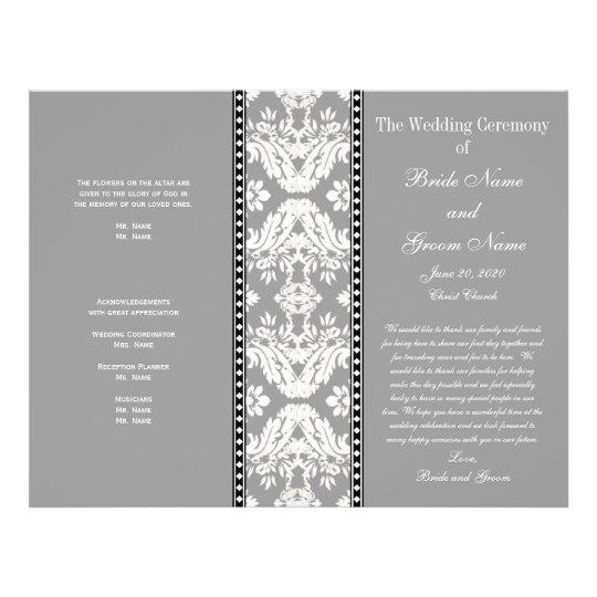 Grey White Damask Wedding Program Flyer