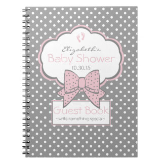 Grey White Dots and Pink- Baby Shower Guest Book -