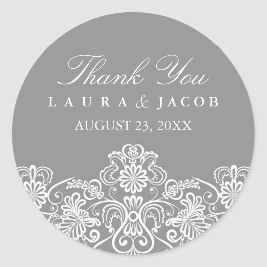 Grey & White Floral Lace Wedding Stickers