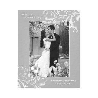 Grey White Floral Portrait Photo Template Picture Canvas Prints