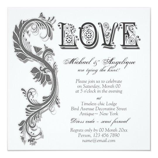 Grey white floral swirl engagement wedding card
