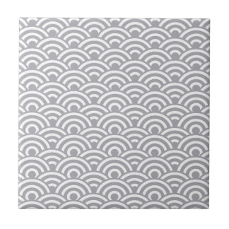 Grey White Japanese Wave Pattern Tile