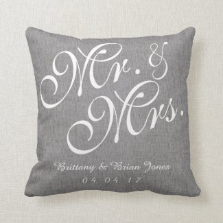 Grey White Linen Mr. and Mrs. Wedding Pillow