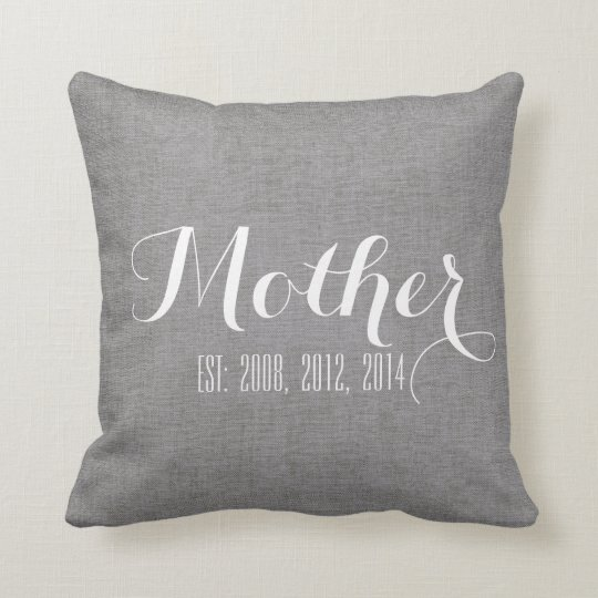Grey White Linen Personalised Mother's Day Gift Cushion
