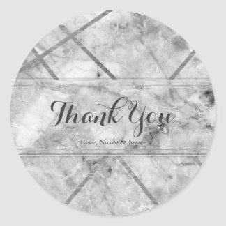 Grey & White Marble Glam Custom Wedding Favor Classic Round Sticker
