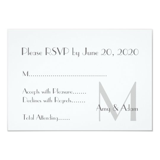 Grey White Modern Monogram Wedding RSVP Card