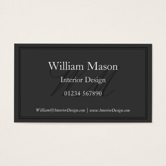 Grey & White Monogram Framed Business Card