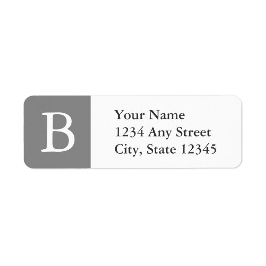 Grey & White Monogrammed Address Labels