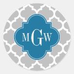 Grey White Moroccan #5 Peacock 3 Initial Monogram Round Sticker