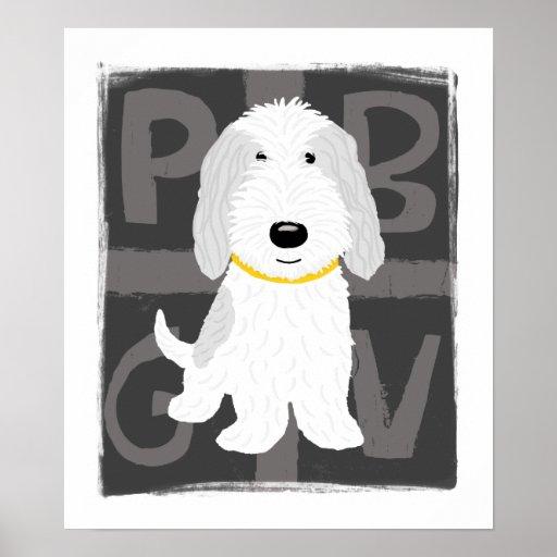 Grey & White PBGV Poster