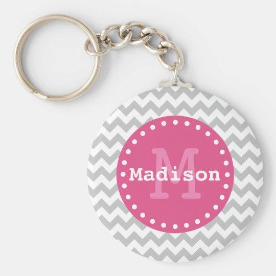 Grey White Pink Chevron Zigzag Monogram Basic Round Button Key Ring