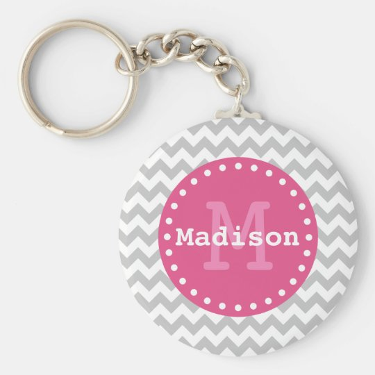 Grey White Pink Chevron Zigzag Monogram Key Ring
