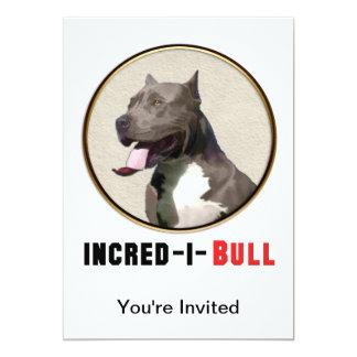 Grey & White Pitbull Incred-i-Bull 13 Cm X 18 Cm Invitation Card