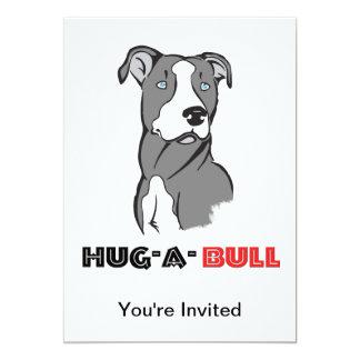 Grey & White Pitbull Sketch Hug-a-Bull 13 Cm X 18 Cm Invitation Card