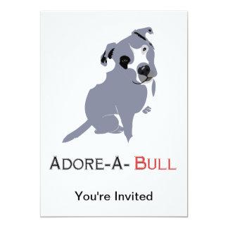 Grey & White Pittie Puppy  Adore-a-Bull 13 Cm X 18 Cm Invitation Card