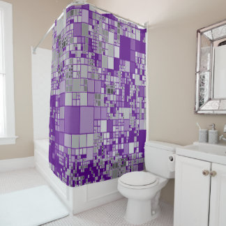 Grey  white purple geometric art shower curtain