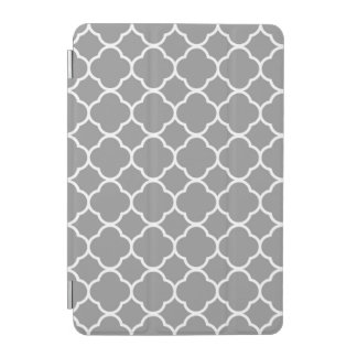 Grey & White Quatrefoil Custom iPad Smart Cover iPad Mini Cover