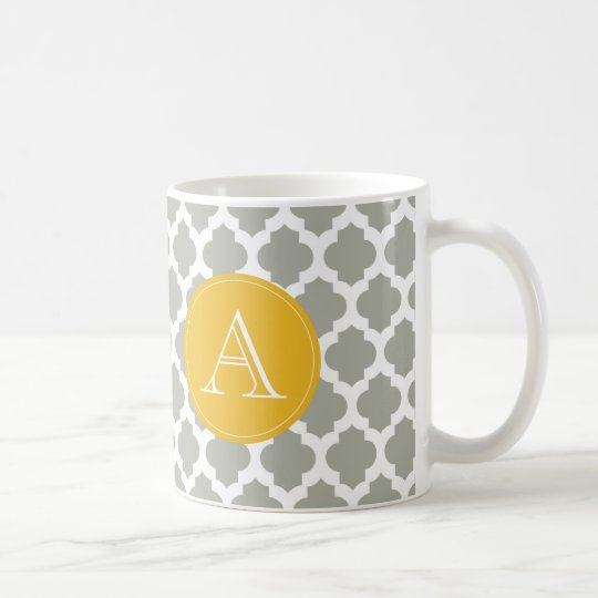 Grey & White Quatrefoil Mustard Yellow Monogram Coffee