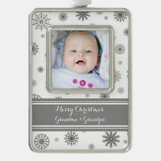 Grey White Snow Grandparents Christmas Ornament Silver Plated Framed Ornament