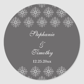 Grey + white snowflakes winter wedding stickers