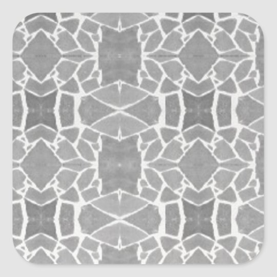Grey White Stone Tiles Mosaic Pattern Square Sticker